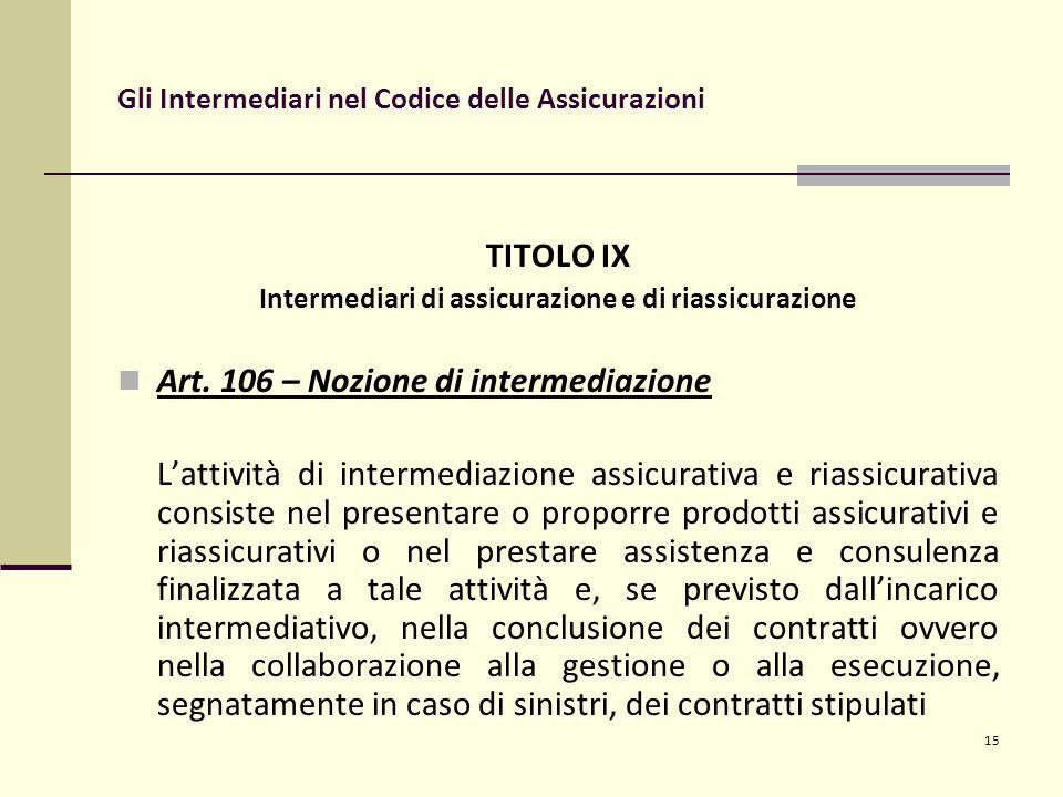 15 Gli Intermediari nel Codice delle Assicurazioni TITOLO IX Intermediari di assicurazione e di riassicurazione Art.