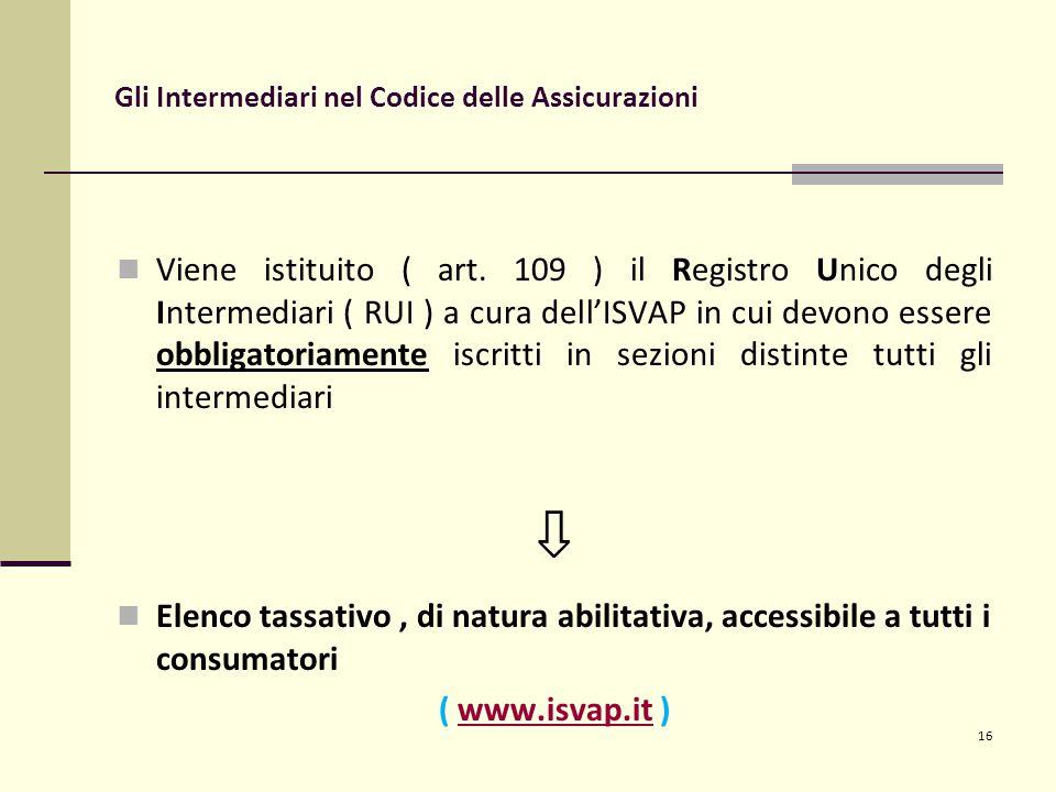 16 Gli Intermediari nel Codice delle Assicurazioni Viene istituito ( art.