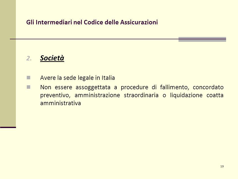 19 Gli Intermediari nel Codice delle Assicurazioni 2.