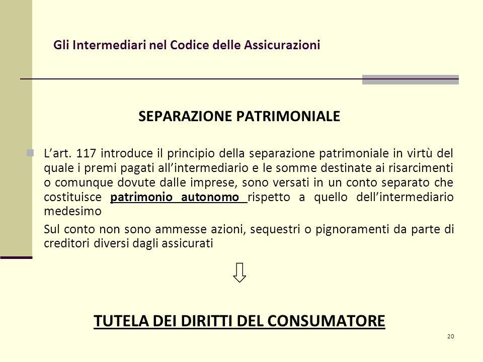 20 Gli Intermediari nel Codice delle Assicurazioni SEPARAZIONE PATRIMONIALE patrimonio autonomo L'art.