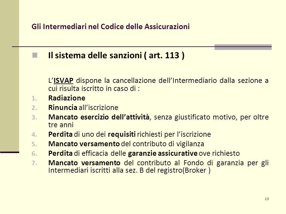 23 Gli Intermediari nel Codice delle Assicurazioni Il sistema delle sanzioni ( art.