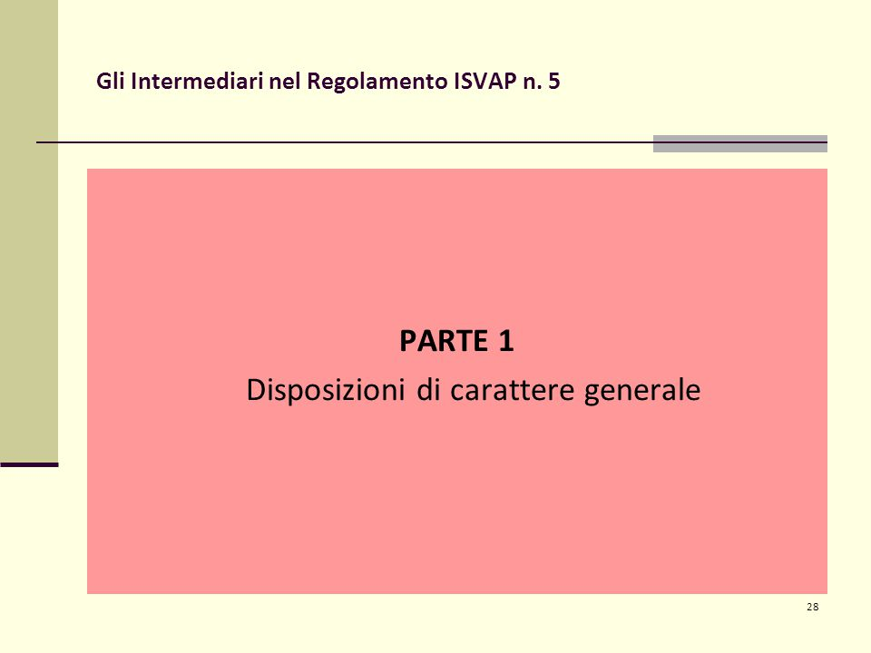 28 Gli Intermediari nel Regolamento ISVAP n. 5 PARTE 1 Disposizioni di carattere generale