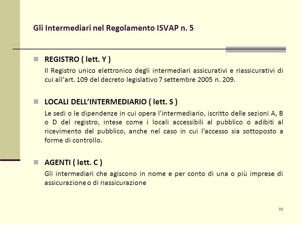 30 Gli Intermediari nel Regolamento ISVAP n. 5 REGISTRO ( lett. Y ) Il Registro unico elettronico degli intermediari assicurativi e riassicurativi di