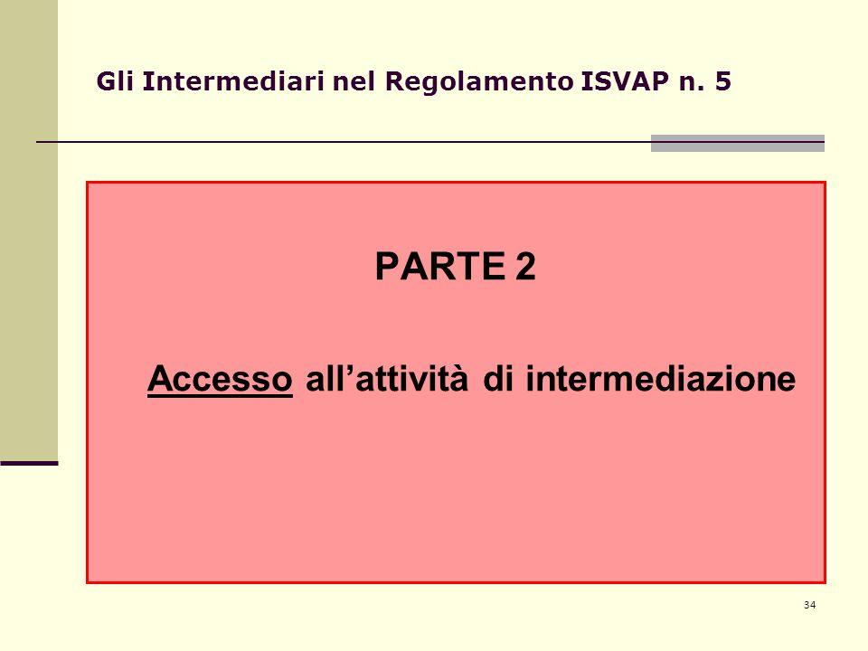 34 Gli Intermediari nel Regolamento ISVAP n. 5 PARTE 2 Accesso all'attività di intermediazione