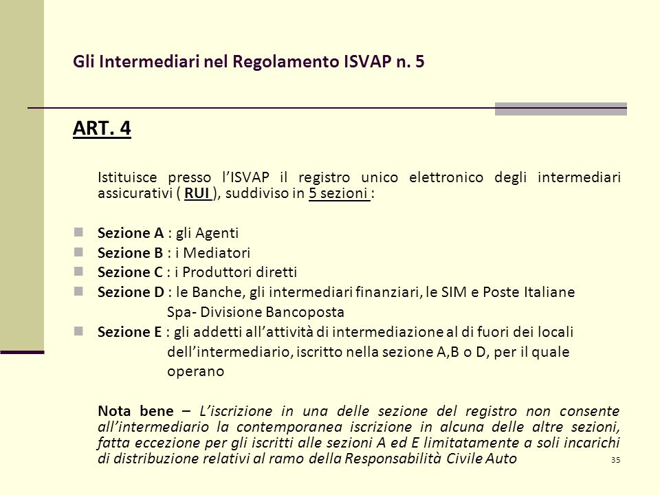 35 Gli Intermediari nel Regolamento ISVAP n. 5 ART.