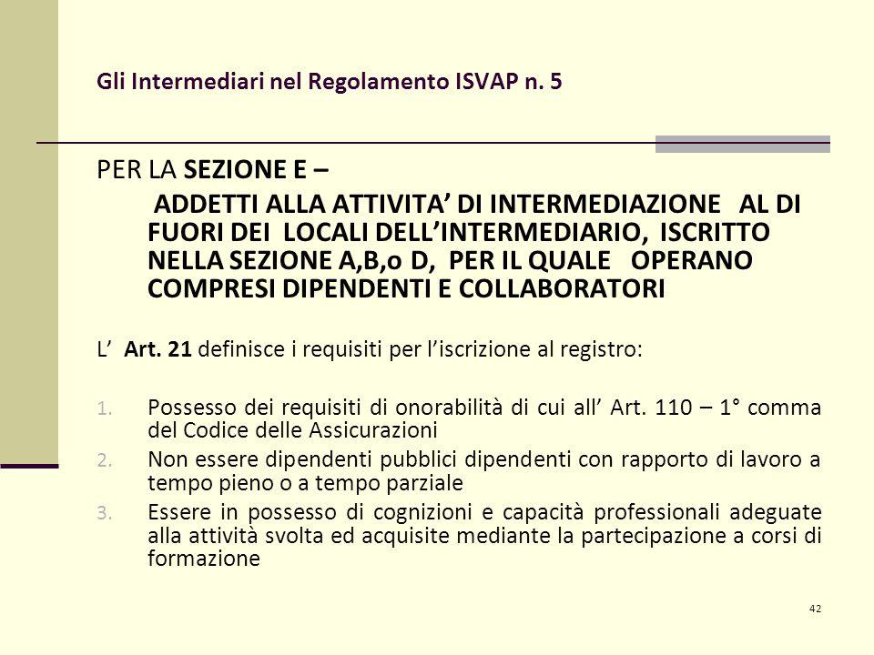 42 Gli Intermediari nel Regolamento ISVAP n. 5 PER LA SEZIONE E – ADDETTI ALLA ATTIVITA' DI INTERMEDIAZIONE AL DI FUORI DEI LOCALI DELL'INTERMEDIARIO,