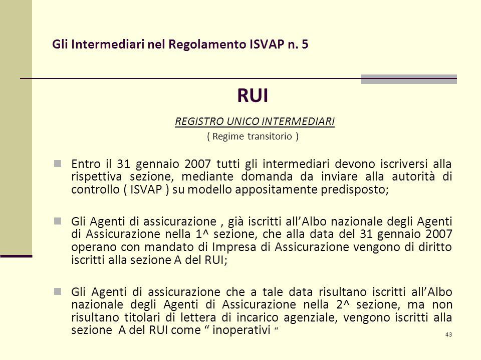 43 Gli Intermediari nel Regolamento ISVAP n. 5 RUI REGISTRO UNICO INTERMEDIARI ( Regime transitorio ) Entro il 31 gennaio 2007 tutti gli intermediari