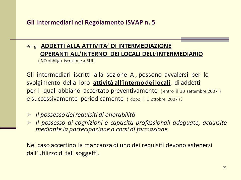 52 Gli Intermediari nel Regolamento ISVAP n. 5 ADDETTI ALLA ATTIVITA' DI INTERMEDIAZIONE Per gli ADDETTI ALLA ATTIVITA' DI INTERMEDIAZIONE OPERANTI AL