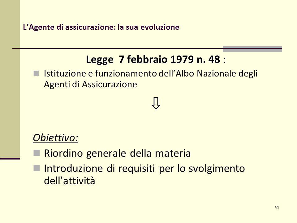 61 L'Agente di assicurazione: la sua evoluzione Legge 7 febbraio 1979 n.