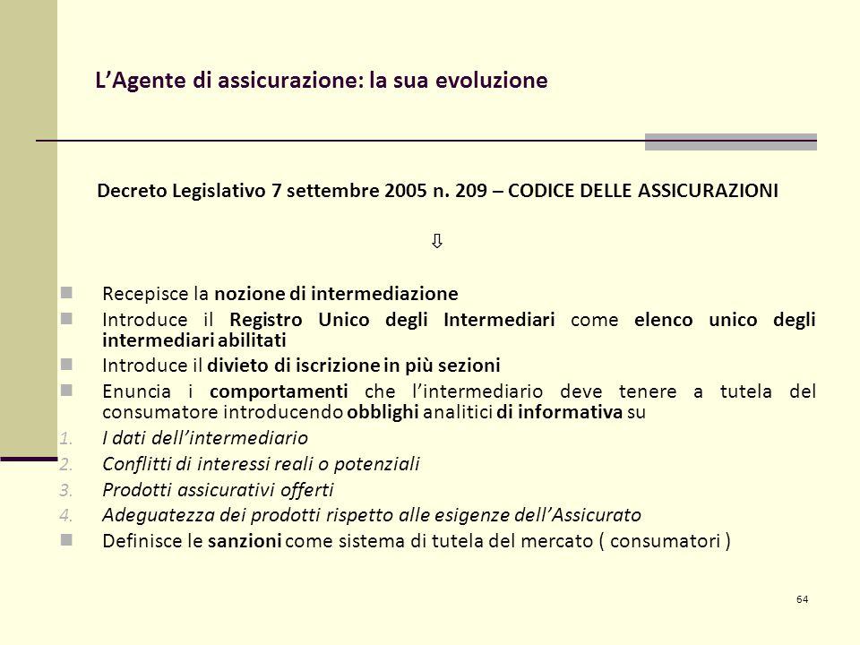 64 L'Agente di assicurazione: la sua evoluzione Decreto Legislativo 7 settembre 2005 n.