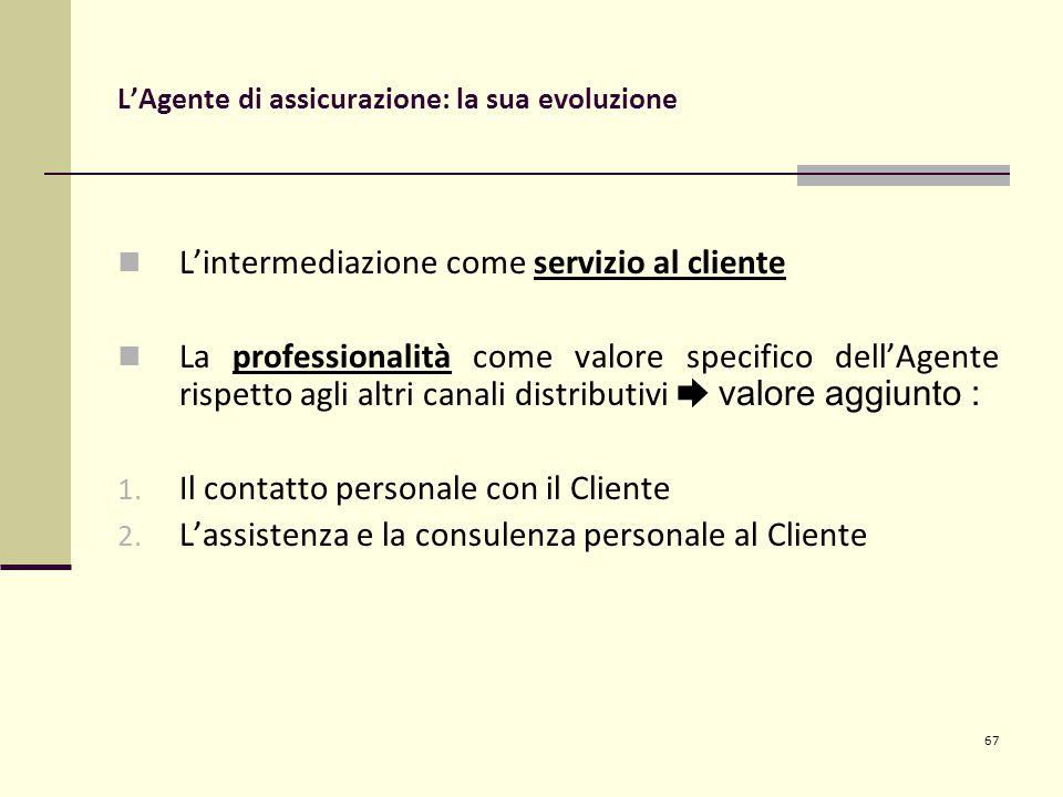 67 L'Agente di assicurazione: la sua evoluzione L'intermediazione come servizio al cliente La professionalità come valore specifico dell'Agente rispetto agli altri canali distributivi ➨ valore aggiunto : 1.
