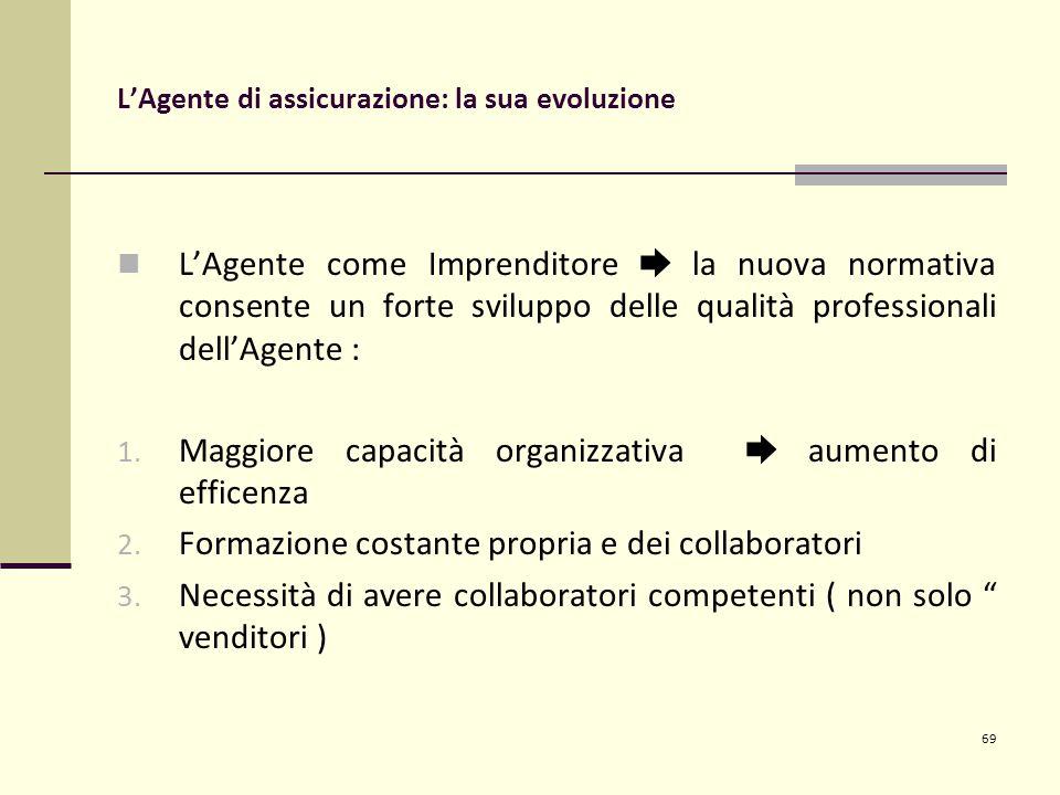 69 L'Agente di assicurazione: la sua evoluzione L'Agente come Imprenditore ➨ la nuova normativa consente un forte sviluppo delle qualità professionali dell'Agente : 1.