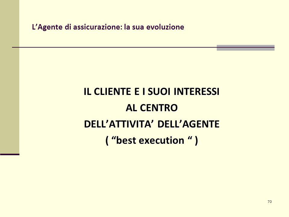 70 L'Agente di assicurazione: la sua evoluzione IL CLIENTE E I SUOI INTERESSI AL CENTRO DELL'ATTIVITA' DELL'AGENTE ( best execution )