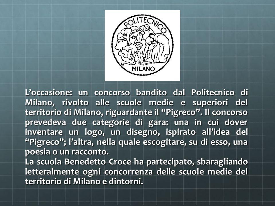 L'occasione: un concorso bandito dal Politecnico di Milano, rivolto alle scuole medie e superiori del territorio di Milano, riguardante il Pigreco .