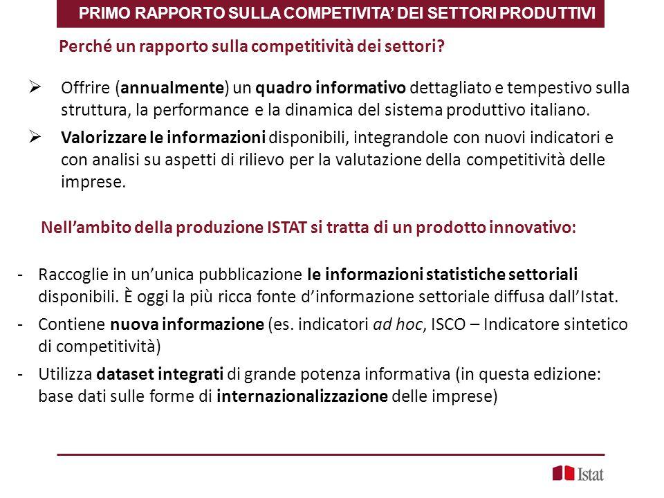 Perché un rapporto sulla competitività dei settori?  Offrire (annualmente) un quadro informativo dettagliato e tempestivo sulla struttura, la perform