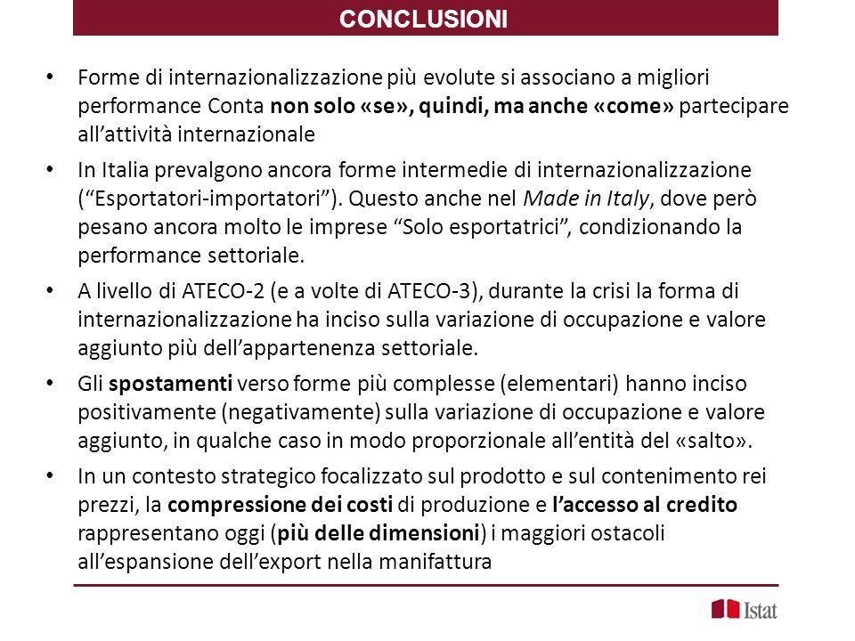 Forme di internazionalizzazione più evolute si associano a migliori performance Conta non solo «se», quindi, ma anche «come» partecipare all'attività internazionale In Italia prevalgono ancora forme intermedie di internazionalizzazione ( Esportatori-importatori ).