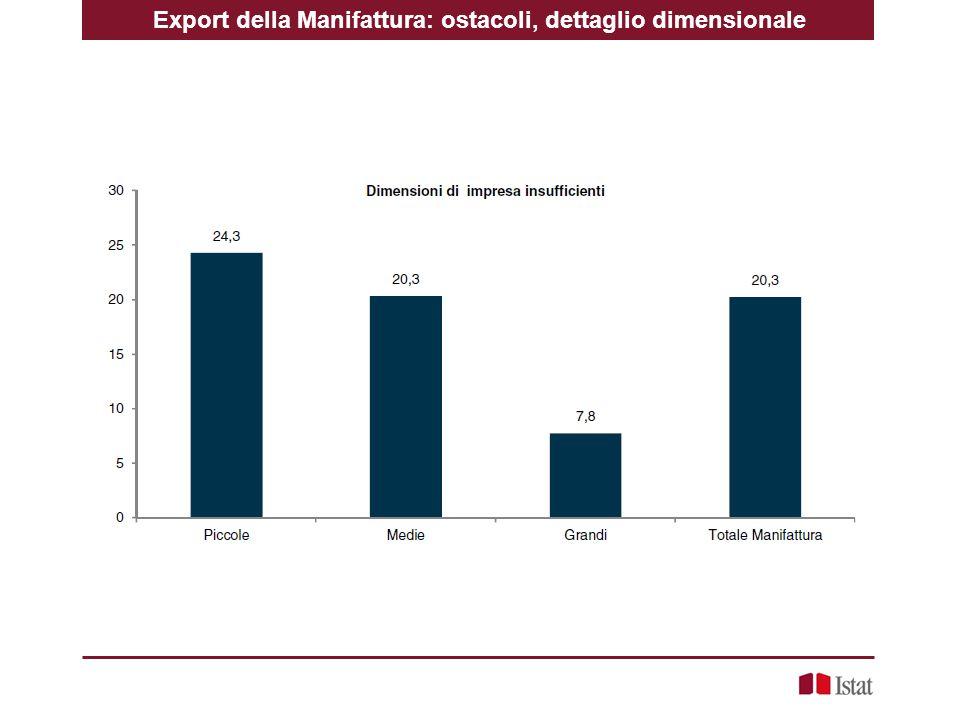 Export della Manifattura: ostacoli, dettaglio dimensionale
