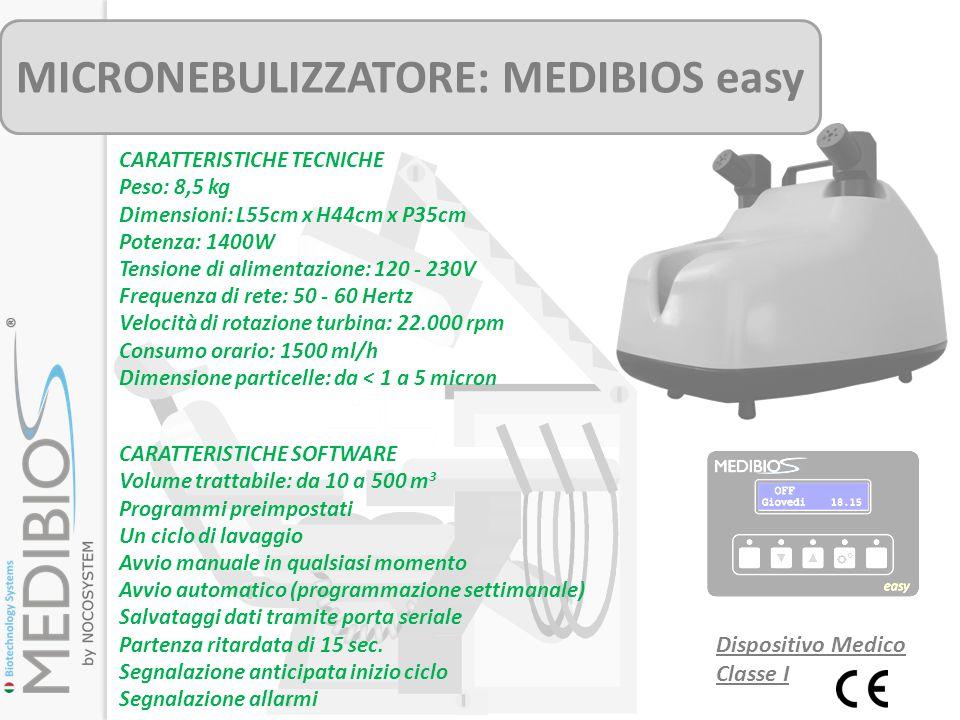 MICRONEBULIZZATORE: MEDIBIOS easy CARATTERISTICHE TECNICHE Peso: 8,5 kg Dimensioni: L55cm x H44cm x P35cm Potenza: 1400W Tensione di alimentazione: 12