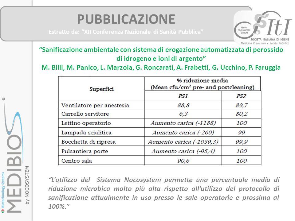 """PUBBLICAZIONE Estratto da: """"XII Conferenza Nazionale di Sanità Pubblica"""" """"Sanificazione ambientale con sistema di erogazione automatizzata di perossid"""