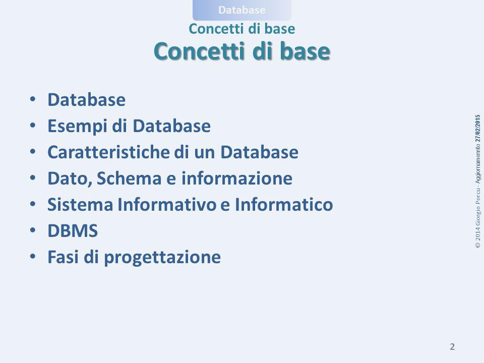 © 2014 Giorgio Porcu - Aggiornamennto 27/02/2015 Database Concetti di base Database Esempi di Database Caratteristiche di un Database Dato, Schema e informazione Sistema Informativo e Informatico DBMS Fasi di progettazione 2