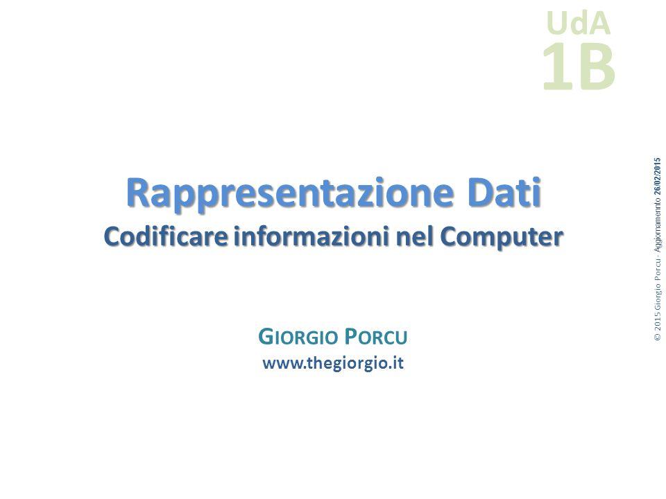 © 2015 Giorgio Porcu - Aggiornamennto 26/02/2015 UdA 1B Rappresentazione Dati Codificare informazioni nel Computer G IORGIO P ORCU www.thegiorgio.it