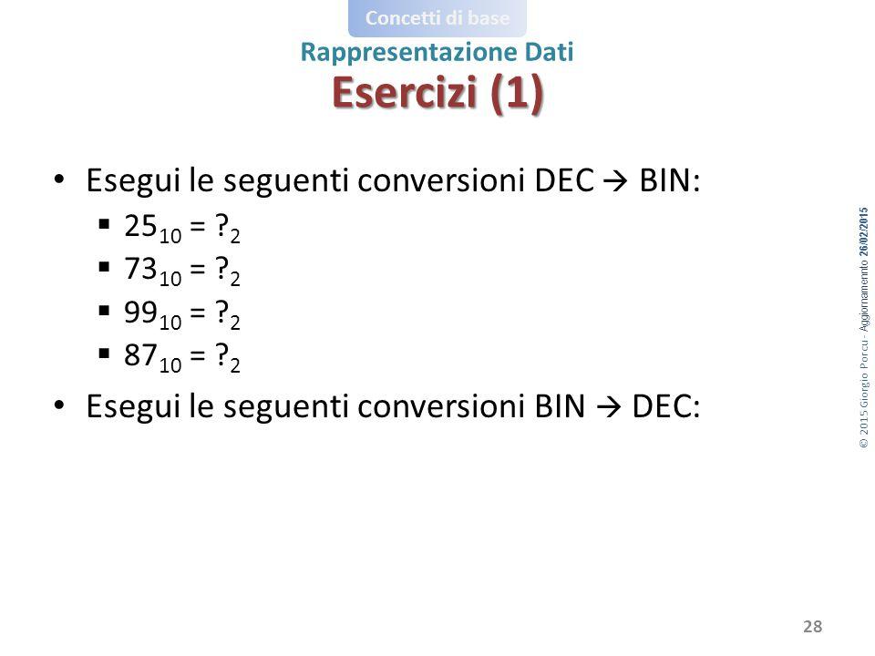 © 2015 Giorgio Porcu - Aggiornamennto 26/02/2015 Concetti di base Rappresentazione Dati Esegui le seguenti conversioni DEC  BIN:  25 10 = .
