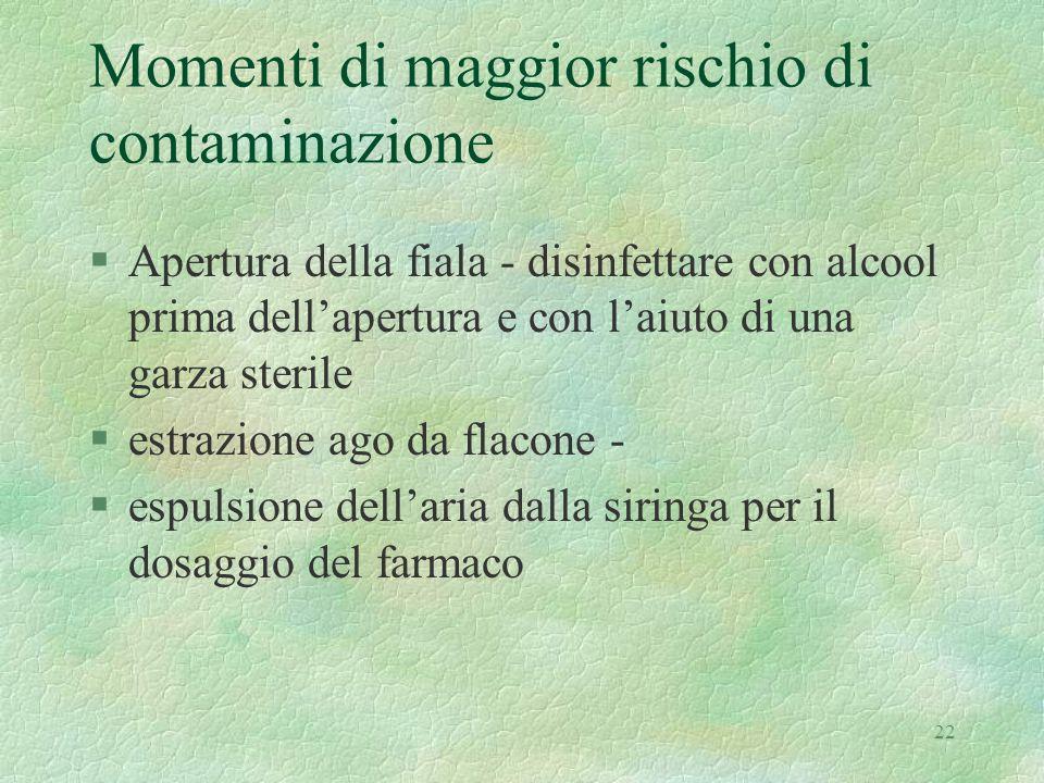 22 Momenti di maggior rischio di contaminazione §Apertura della fiala - disinfettare con alcool prima dell'apertura e con l'aiuto di una garza sterile
