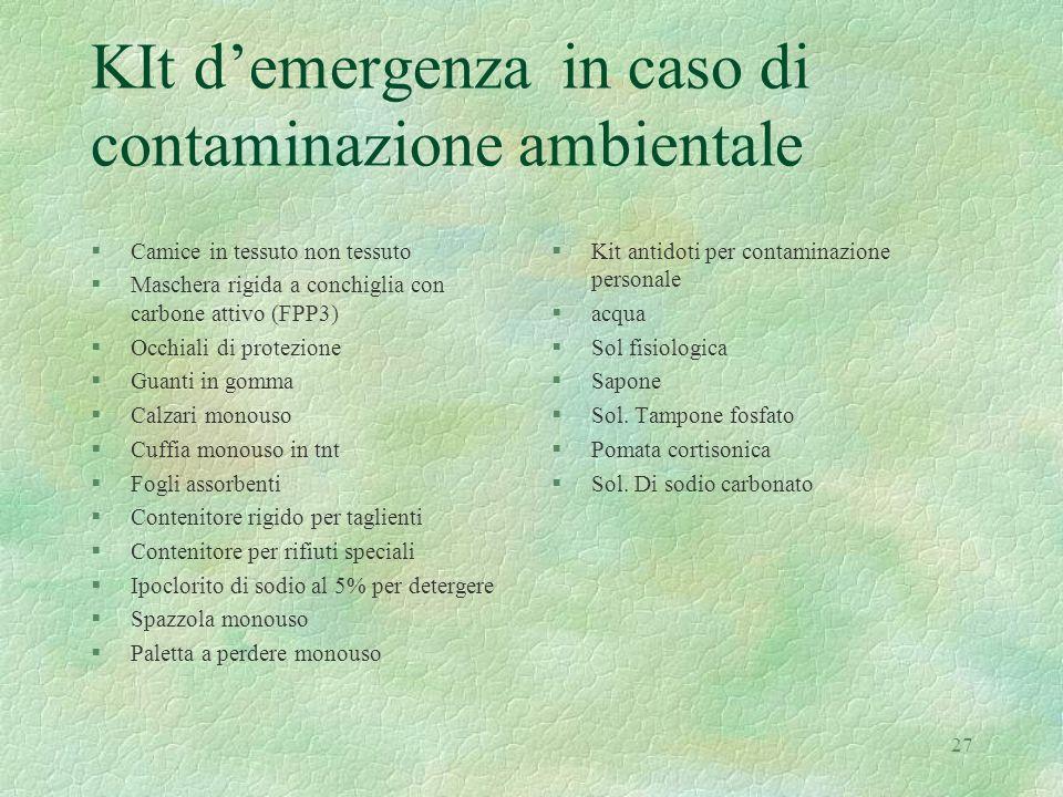 27 KIt d'emergenza in caso di contaminazione ambientale §Camice in tessuto non tessuto §Maschera rigida a conchiglia con carbone attivo (FPP3) §Occhia