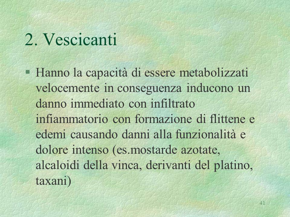 41 2. Vescicanti §Hanno la capacità di essere metabolizzati velocemente in conseguenza inducono un danno immediato con infiltrato infiammatorio con fo