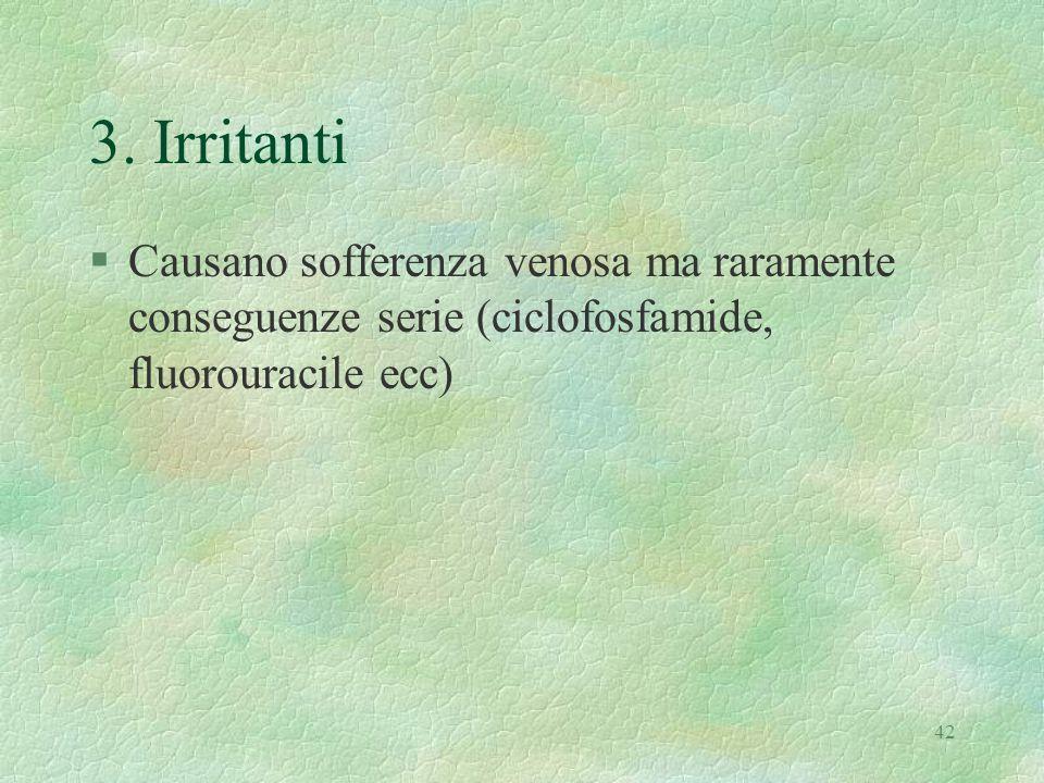 42 3. Irritanti §Causano sofferenza venosa ma raramente conseguenze serie (ciclofosfamide, fluorouracile ecc)