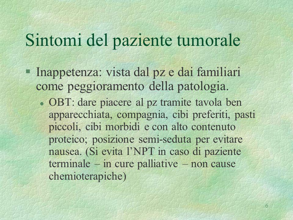 6 Sintomi del paziente tumorale §Inappetenza: vista dal pz e dai familiari come peggioramento della patologia. l OBT: dare piacere al pz tramite tavol