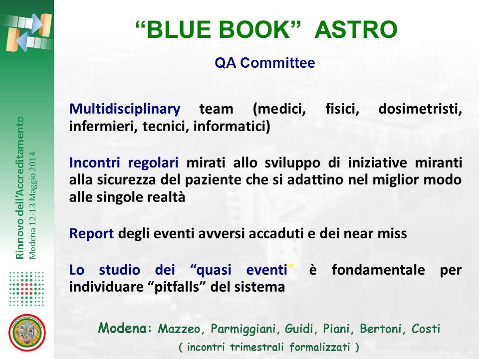 """Rinnovo dell'Accreditamento Modena 12-13 Maggio 2014 """"BLUE BOOK"""" ASTRO Multidisciplinary team (medici, fisici, dosimetristi, infermieri, tecnici, info"""