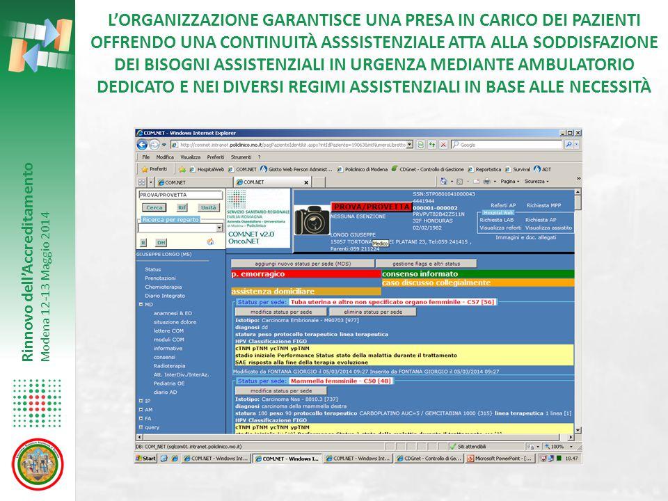 Rinnovo dell'Accreditamento Modena 12-13 Maggio 2014 L'ORGANIZZAZIONE GARANTISCE UNA PRESA IN CARICO DEI PAZIENTI OFFRENDO UNA CONTINUITÀ ASSSISTENZIA