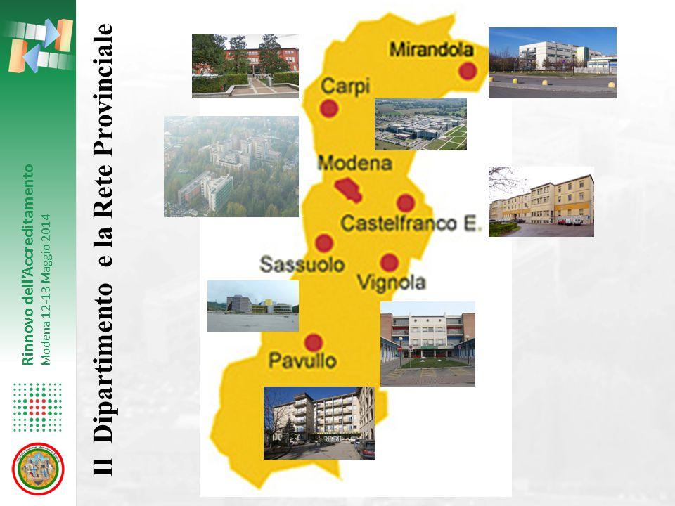 Rinnovo dell'Accreditamento Modena 12-13 Maggio 2014 Il Dipartimento e la Rete Provinciale