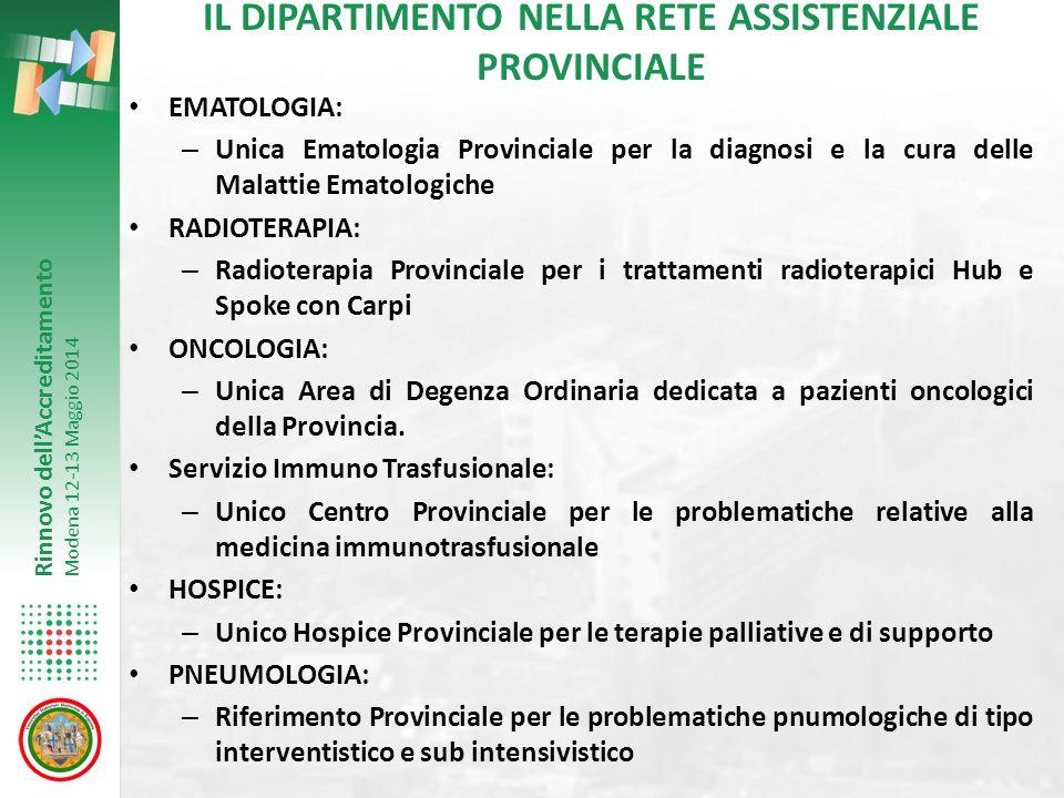 Rinnovo dell'Accreditamento Modena 12-13 Maggio 2014 EMATOLOGIA: – Unica Ematologia Provinciale per la diagnosi e la cura delle Malattie Ematologiche