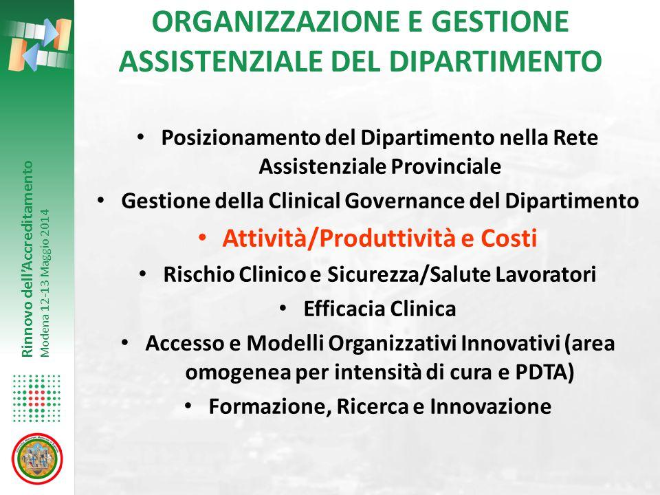 Rinnovo dell'Accreditamento Modena 12-13 Maggio 2014 ORGANIZZAZIONE E GESTIONE ASSISTENZIALE DEL DIPARTIMENTO Posizionamento del Dipartimento nella Re