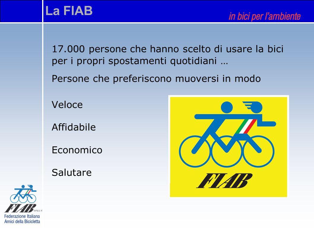 La FIAB 17.000 persone che hanno scelto di usare la bici per i propri spostamenti quotidiani … Persone che preferiscono muoversi in modo Veloce Affidabile Economico Salutare