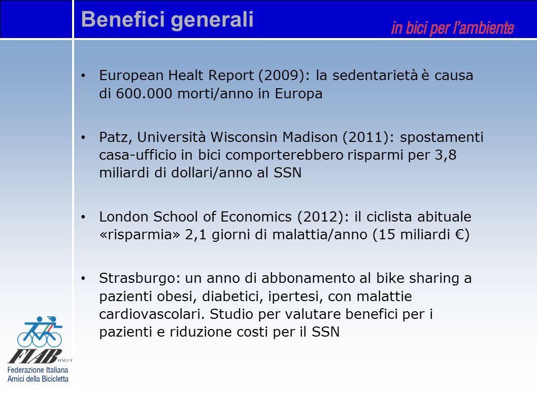 Benefici generali European Healt Report (2009): la sedentarietà è causa di 600.000 morti/anno in Europa Patz, Università Wisconsin Madison (2011): spostamenti casa-ufficio in bici comporterebbero risparmi per 3,8 miliardi di dollari/anno al SSN London School of Economics (2012): il ciclista abituale «risparmia» 2,1 giorni di malattia/anno (15 miliardi €) Strasburgo: un anno di abbonamento al bike sharing a pazienti obesi, diabetici, ipertesi, con malattie cardiovascolari.