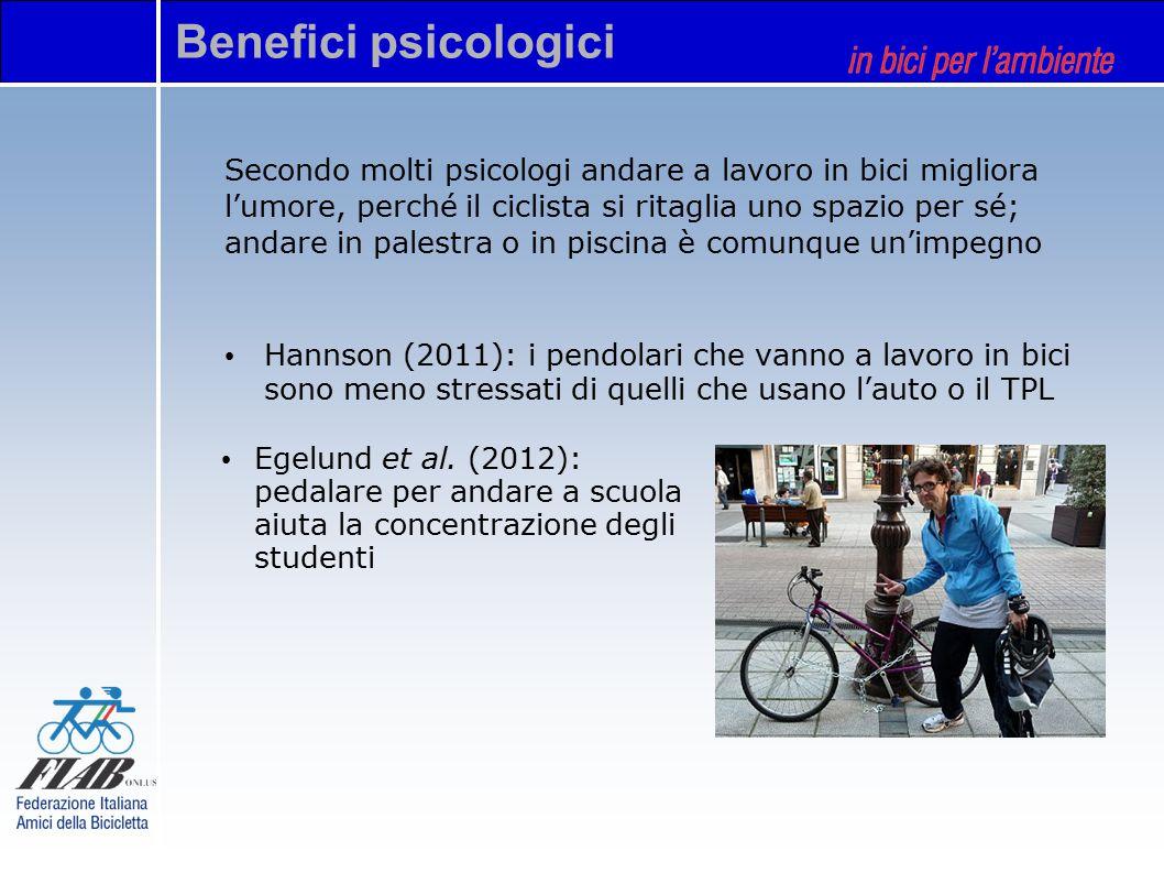 Secondo molti psicologi andare a lavoro in bici migliora l'umore, perché il ciclista si ritaglia uno spazio per sé; andare in palestra o in piscina è