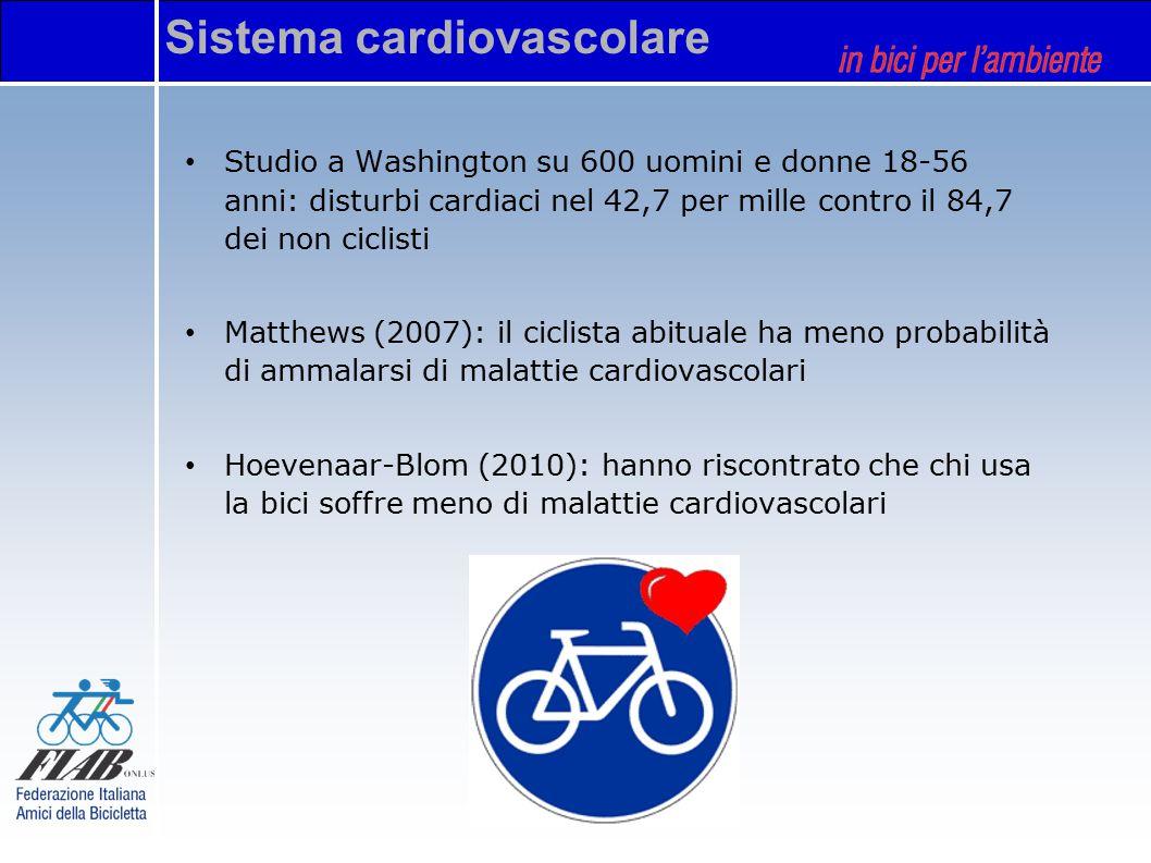 Sistema cardiovascolare Studio a Washington su 600 uomini e donne 18-56 anni: disturbi cardiaci nel 42,7 per mille contro il 84,7 dei non ciclisti Matthews (2007): il ciclista abituale ha meno probabilità di ammalarsi di malattie cardiovascolari Hoevenaar-Blom (2010): hanno riscontrato che chi usa la bici soffre meno di malattie cardiovascolari