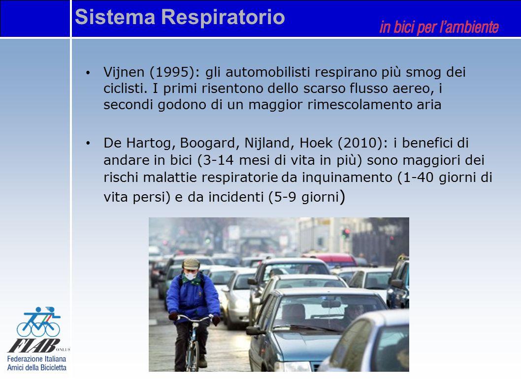 Vijnen (1995): gli automobilisti respirano più smog dei ciclisti. I primi risentono dello scarso flusso aereo, i secondi godono di un maggior rimescol