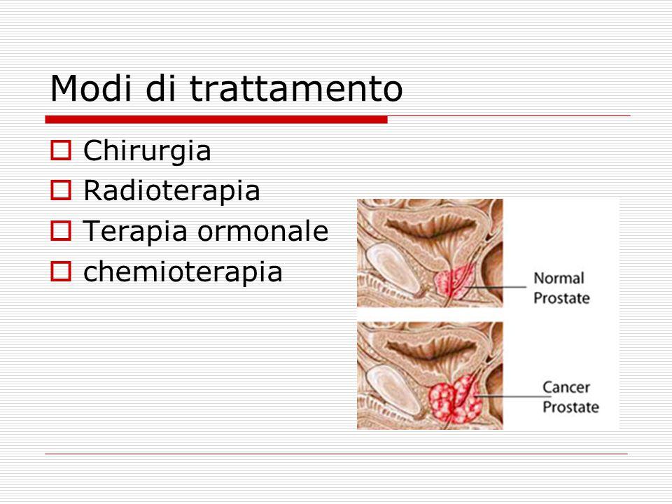 Modi di trattamento  Chirurgia  Radioterapia  Terapia ormonale  chemioterapia