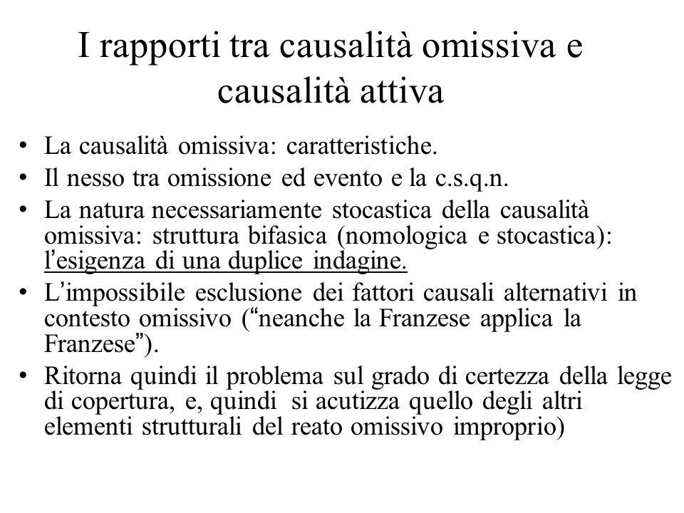 I rapporti tra causalità omissiva e causalità attiva La causalità omissiva: caratteristiche.