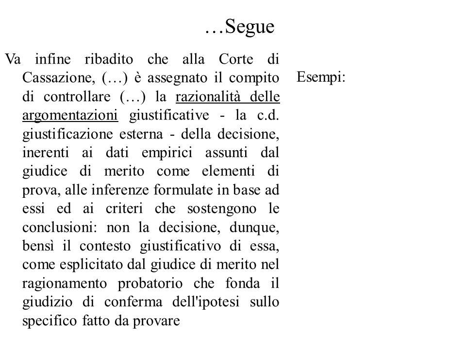 …Segue Va infine ribadito che alla Corte di Cassazione, (…) è assegnato il compito di controllare (…) la razionalità delle argomentazioni giustificative - la c.d.