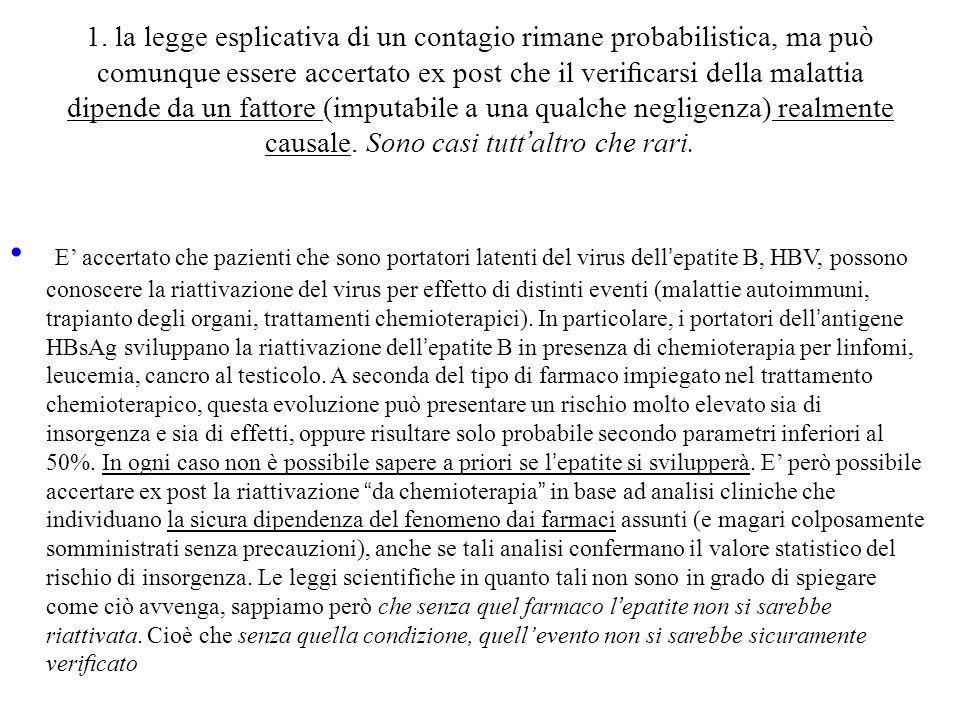 1. la legge esplicativa di un contagio rimane probabilistica, ma può comunque essere accertato ex post che il verificarsi della malattia dipende da un