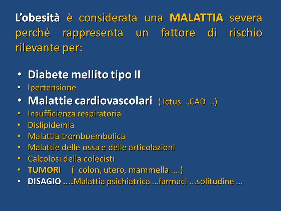 L'obesità è considerata una MALATTIA severa perché rappresenta un fattore di rischio rilevante per: Diabete mellito tipo II Diabete mellito tipo II Ip