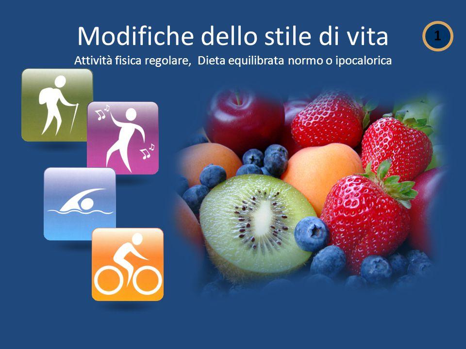 Modifiche dello stile di vita Attività fisica regolare, Dieta equilibrata normo o ipocalorica 1