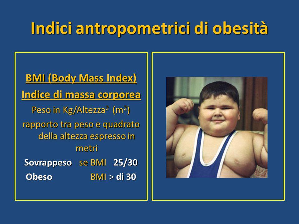 Indici antropometrici di obesità BMI (Body Mass Index) Indice di massa corporea Peso in Kg/Altezza 2 (m 2 ) rapporto tra peso e quadrato della altezza