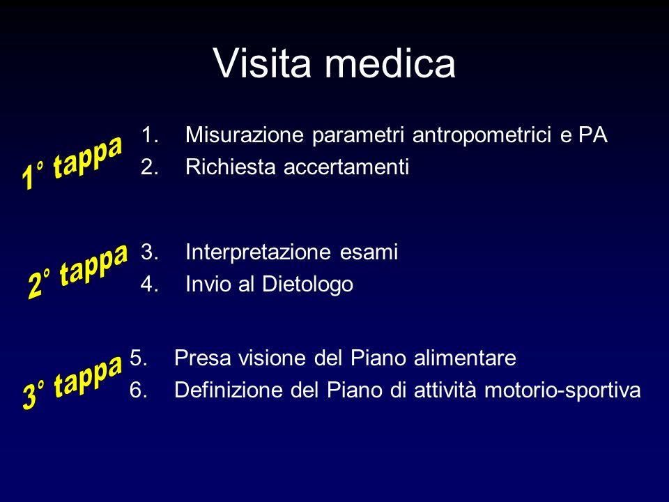 Parametri antropometriciCalcolare ………………………… AccertamentiIndicare …………………………..