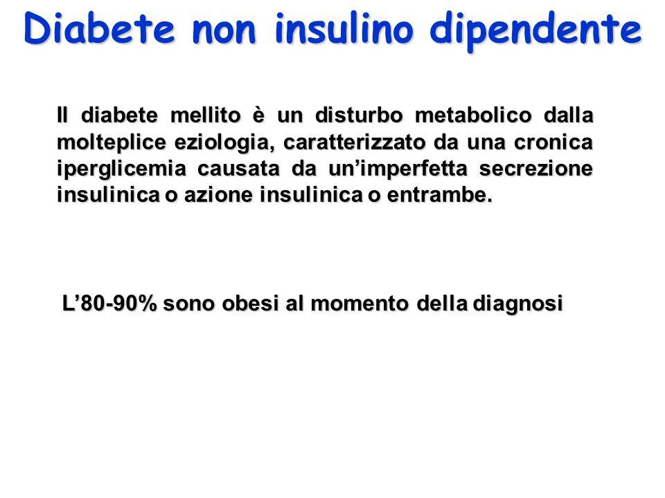 Diabete non insulino dipendente Il diabete mellito è un disturbo metabolico dalla molteplice eziologia, caratterizzato da una cronica iperglicemia causata da un'imperfetta secrezione insulinica o azione insulinica o entrambe.